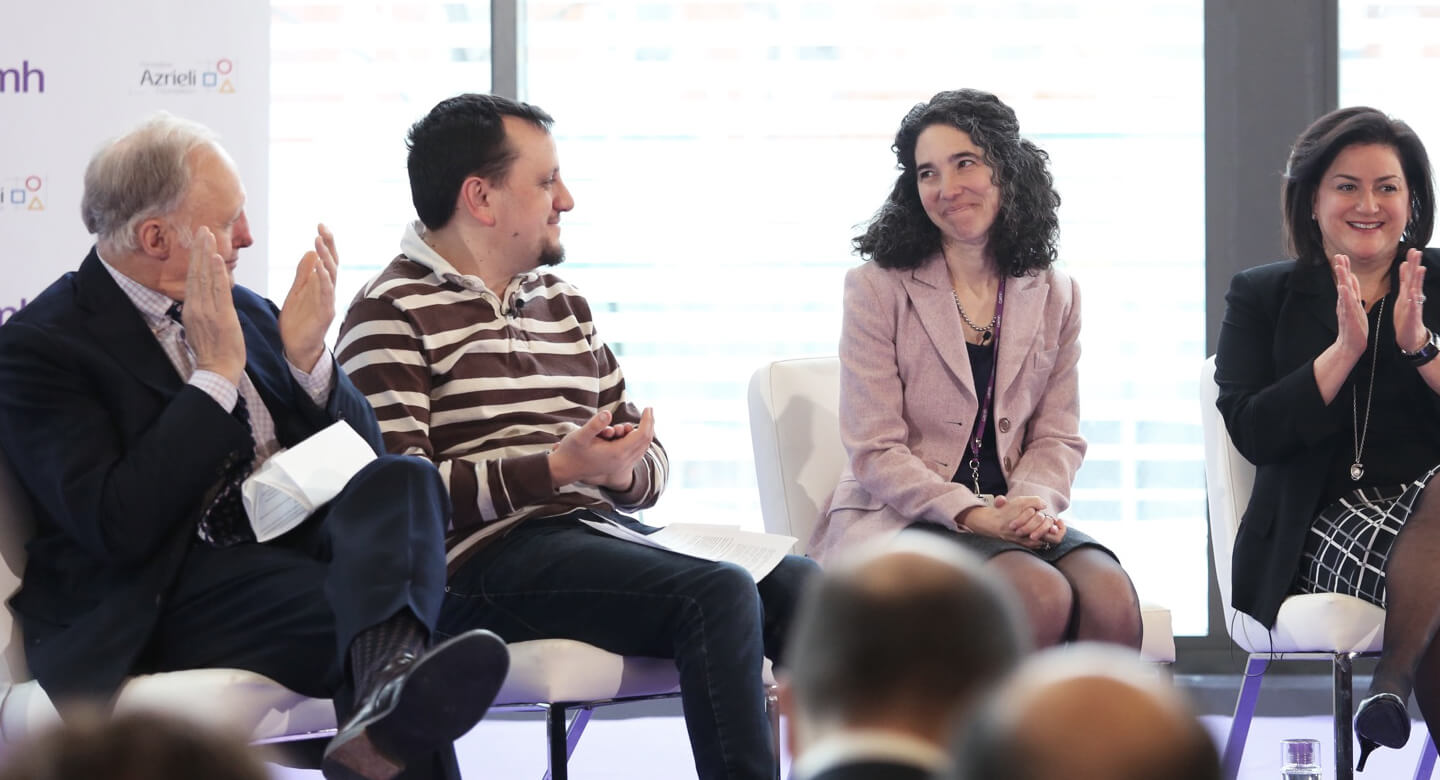 Ian Brown (author and Globe and Mail columnist) hosted a panel discussion featuring Dr. Yona Lunsky (Director of the Azrieli Centre for Adult Neurodevelopmental Disabilities and Mental Health), Naomi Azrieli (Chair and CEO of the Azrieli Foundation) and Daniel Share-Strom (Autism Advocate).